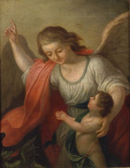 Italian School, 18th Century Style    Angel and Bambino