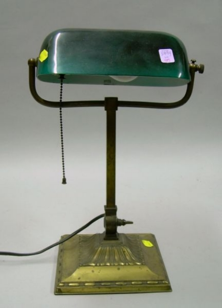 Emeralite Cased Green Glass and Brass Desk Lamp
