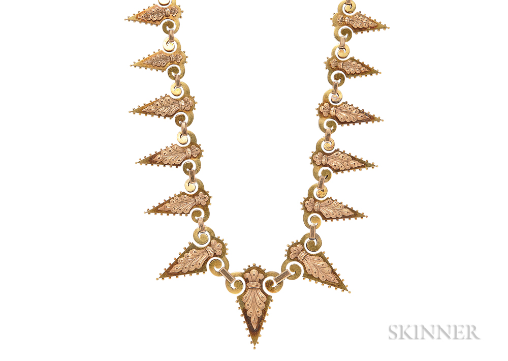 Victorian Bicolor Gold Fringe Necklace