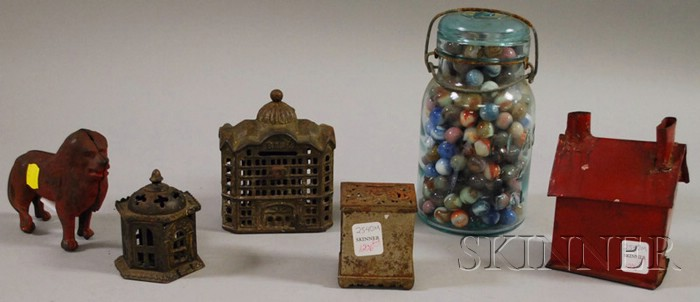 Aqua Glass Canning Jar of Glass Marbles, Four Painted Cast Iron Still Banks, and a   Red-painted Tin House-form Bank