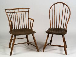 Rod-back Windsor Armchair and a Bow-back Windsor Side Chair