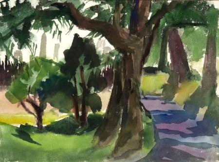 Olga I. Sears (American, 1906-1990)    Wooded Landscape