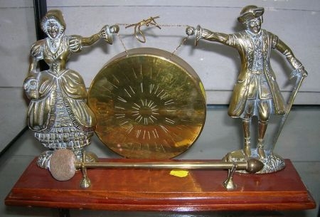 Decorative Brass and Oak Figural Dinner Gong