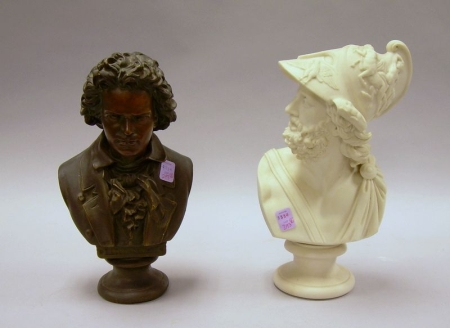 Classical Parian Bust and Painted Plaster Bust of Beethoven.