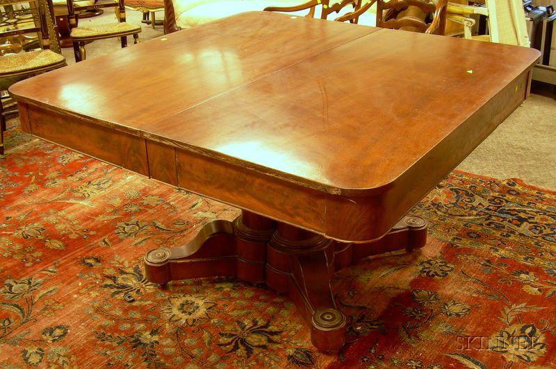 Gothic Revival Mahogany and Mahogany Veneer Pedestal-base Dining Table