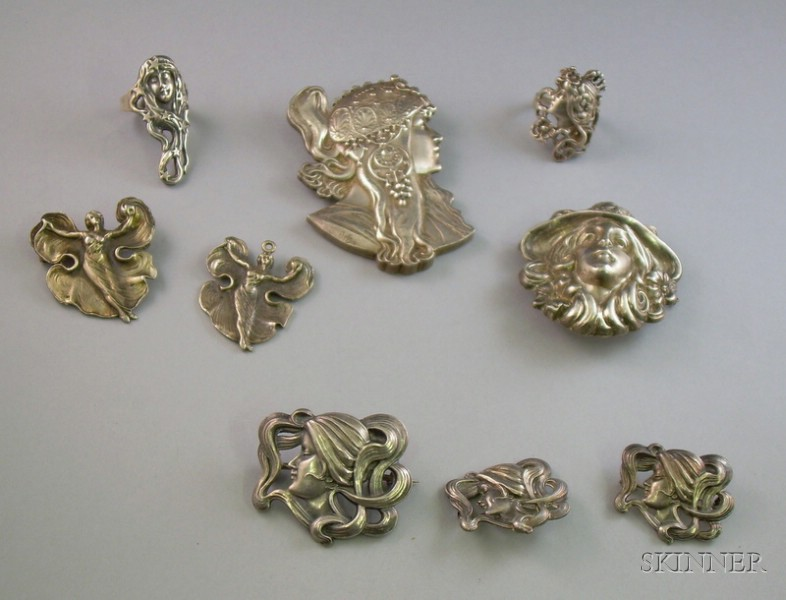 Nine Pieces of Art Nouveau Sterling Silver Maiden Jewelry