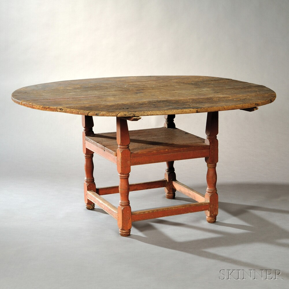 Salmon/Red-painted Chair Table