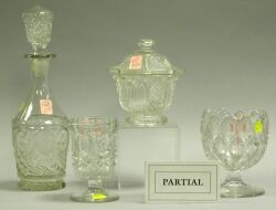 Six Sandwich Colorless Glass Table Articles