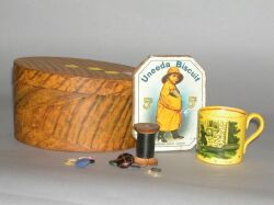 Grain Painted Wooden Pantry Box and a Childs Canary Yellow Whip Top Ceramic Mug.