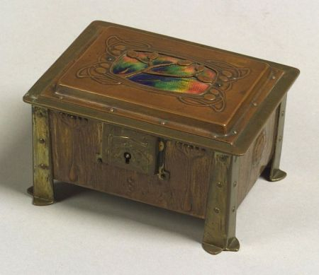 Arts & Crafts  Copper, Brass, and Enamel Box