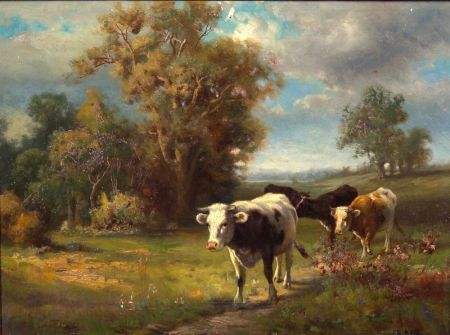 Robert Atkinson Fox (Canadian/American, 1860-1927)    Cows on the Path Home