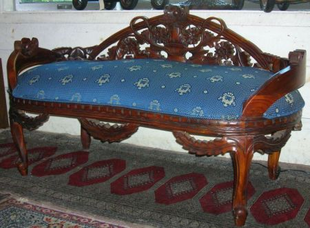 Asian Art Nouveau Style Carved Hardwood and Upholstered Bench