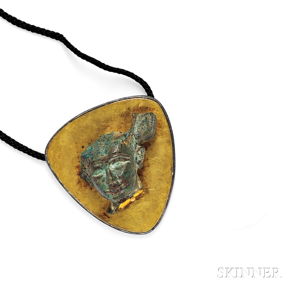 Gold, Silver, and Egyptian Bronze Pendant