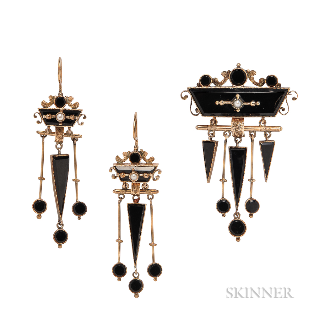 Victorian Gold, Onyx, and Seed Pearl Demi-parure