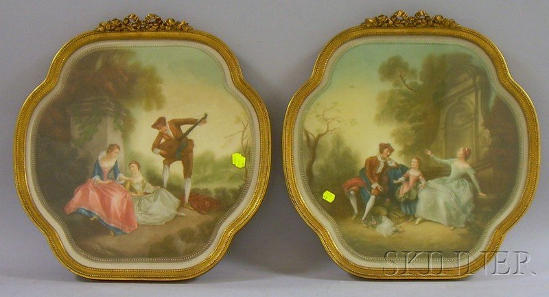 Two Framed Mezzotints on Paper Depicting Genre Scenes in the Garden by      Clifford R. James (British, 19th/20th Century)