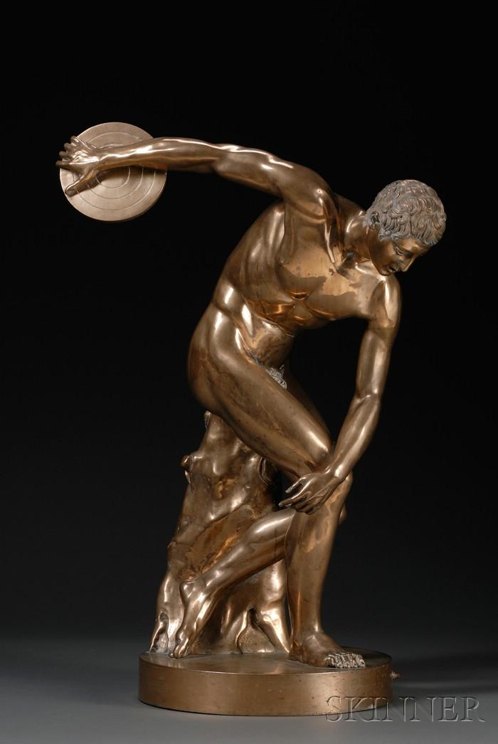 Large Bronze Grand Tour Figure of the Discobolus of Myron
