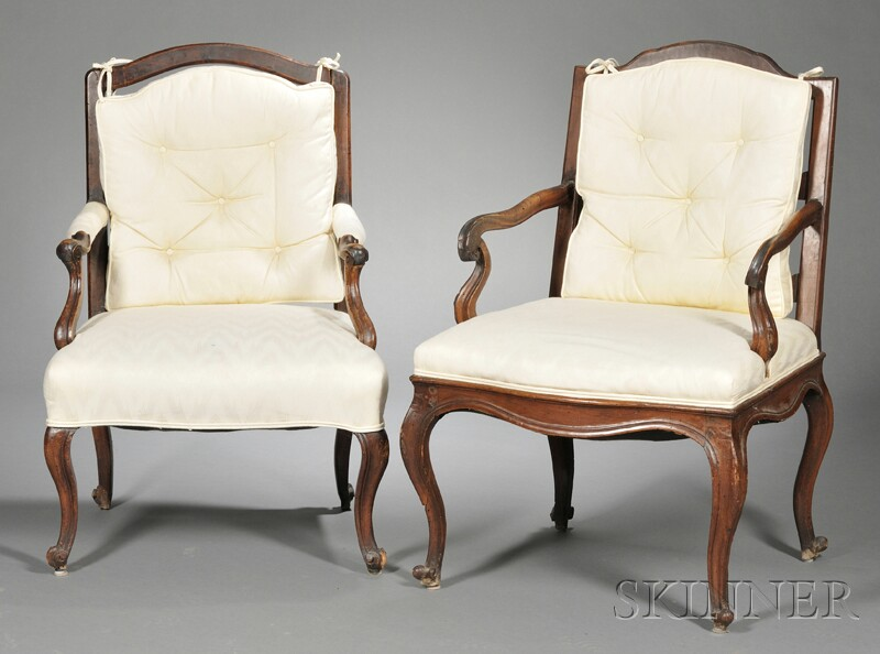 Two Upholstered Fruitwood Armchairs