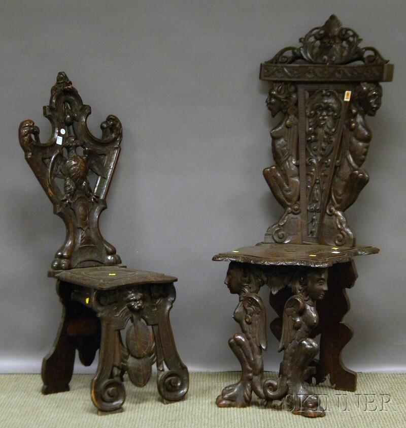 Four Late Victorian Italian Renaissance-style Carved Walnut