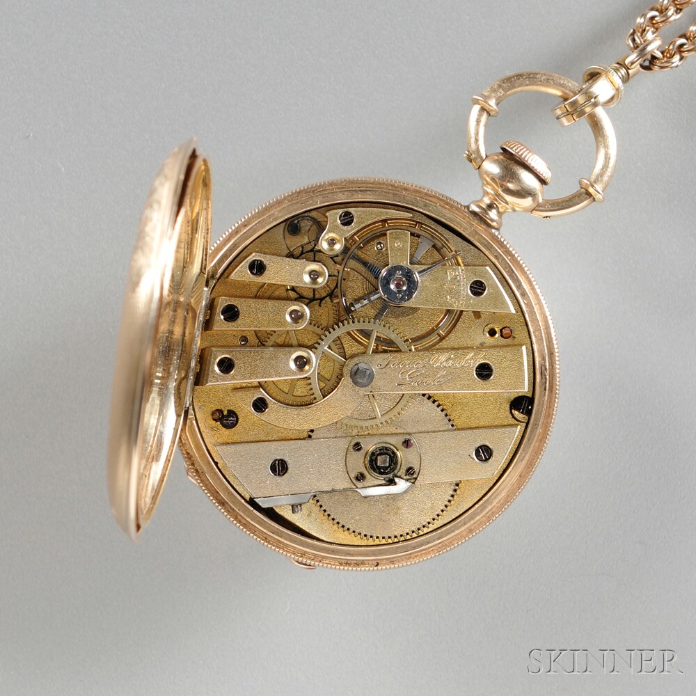 14kt Gold Hunting Case Pocket Watch by Jaques Roulet