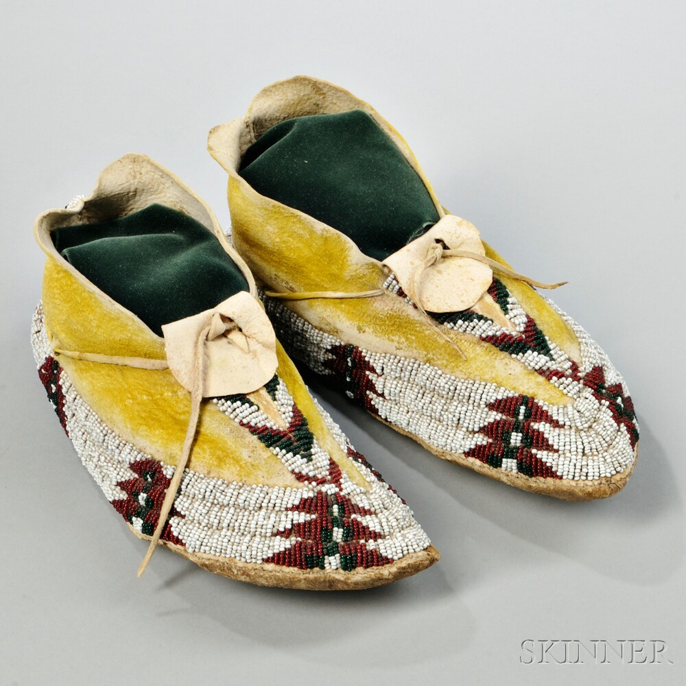 Apache Beaded Hide Moccasins