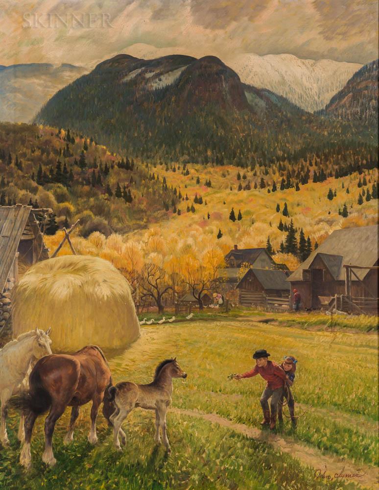 John Ford Clymer (American, 1907-1989)      Belgian Horse Farm