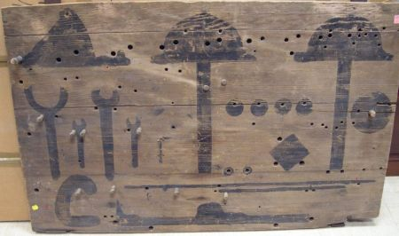 Turn-of-the-Century Iron Mounted Painted Pine Tool Board.
