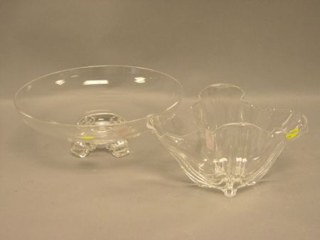 Steuben Colorless Glass Handkerchief Vase and Footed Bowl.