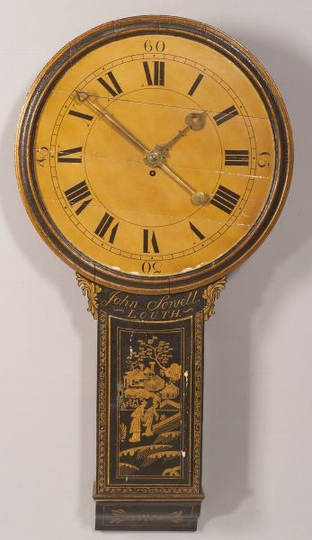 "English and Gilt-decorated Black Japanned ""Act of Parliament Clock"""