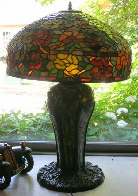 """Large """"Tiffany-style"""" Leaded Slag Glass, Mosaic, and Patinated Metal Table Lamp"""
