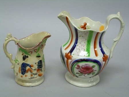 Two Staffordshire Lustre and Enamel Decorated Pitchers