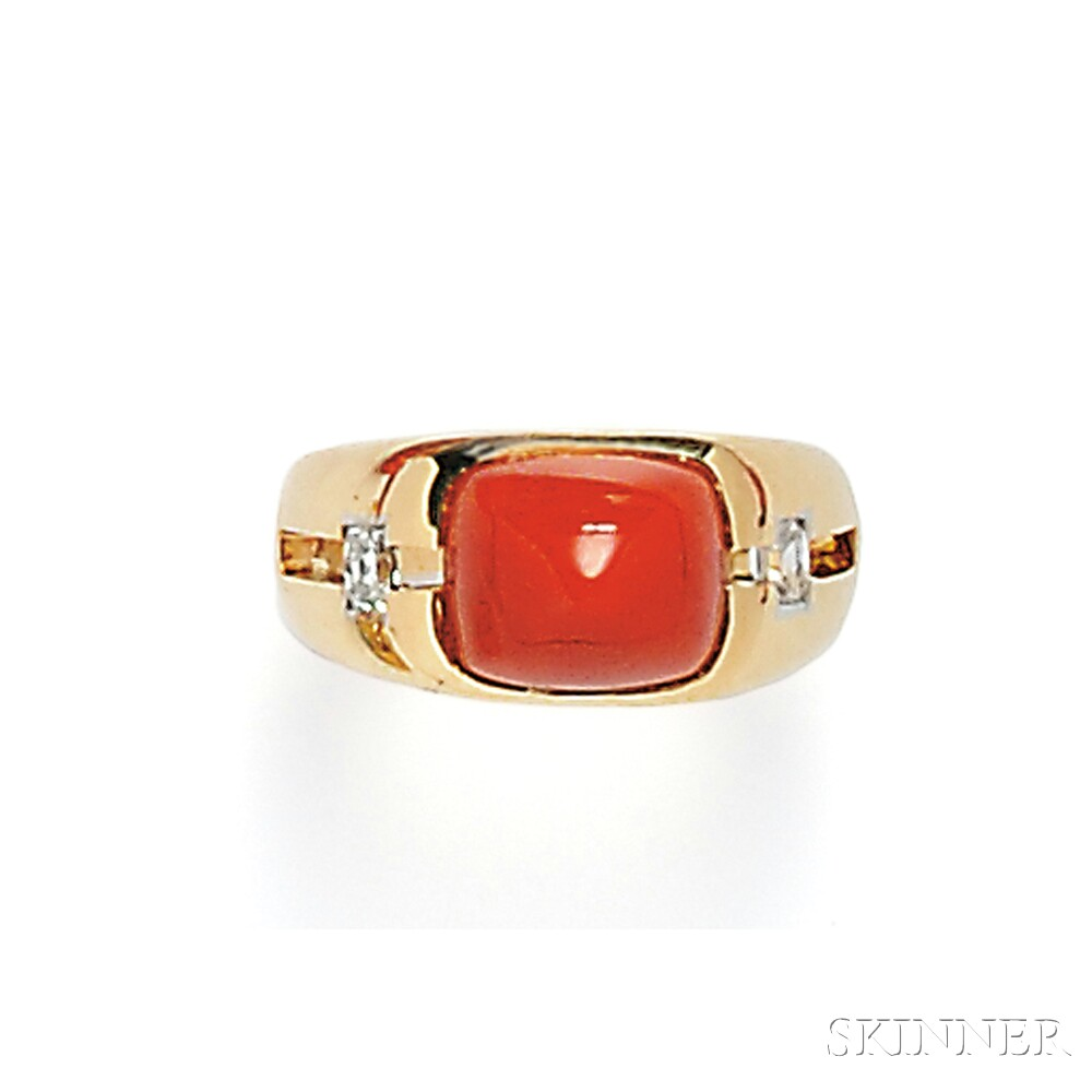 18kt Gold, Coral, and Diamond Ring, Janesich