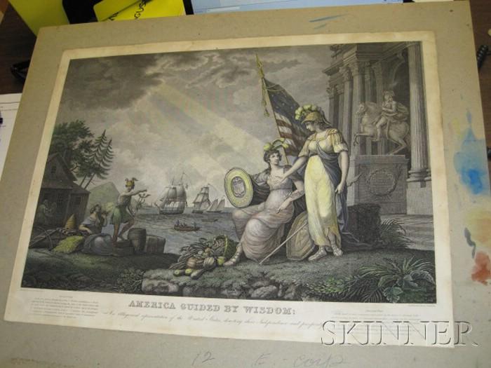 After John J. Barralett, Engraved by Benjamin Tanner (Philadelphia/New York, 1775-1848) America Guided By Wisdom: An Allegorical rep...