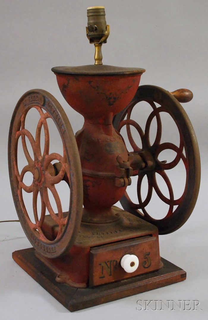 Enterprise Mfg. Co. Painted Cast Iron No. 5 Coffee Grinder/Table Lamp