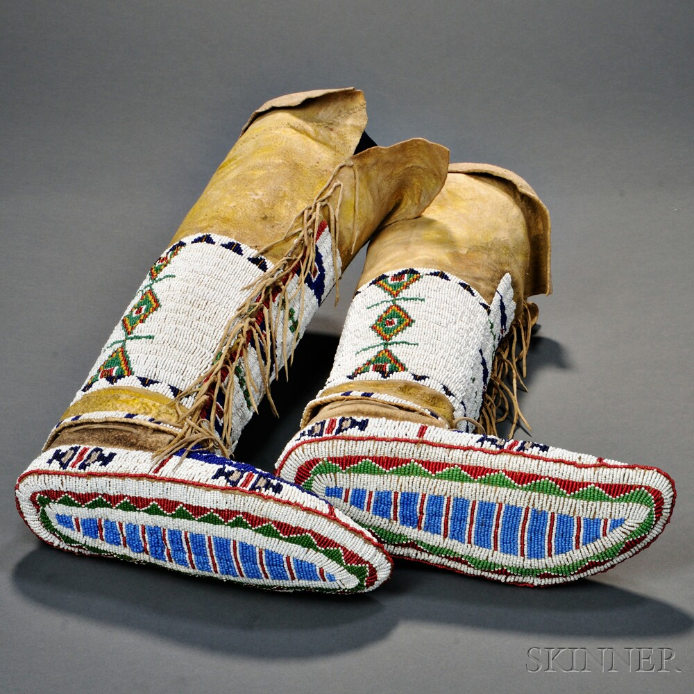 lakota s fully beaded moccasins with attached