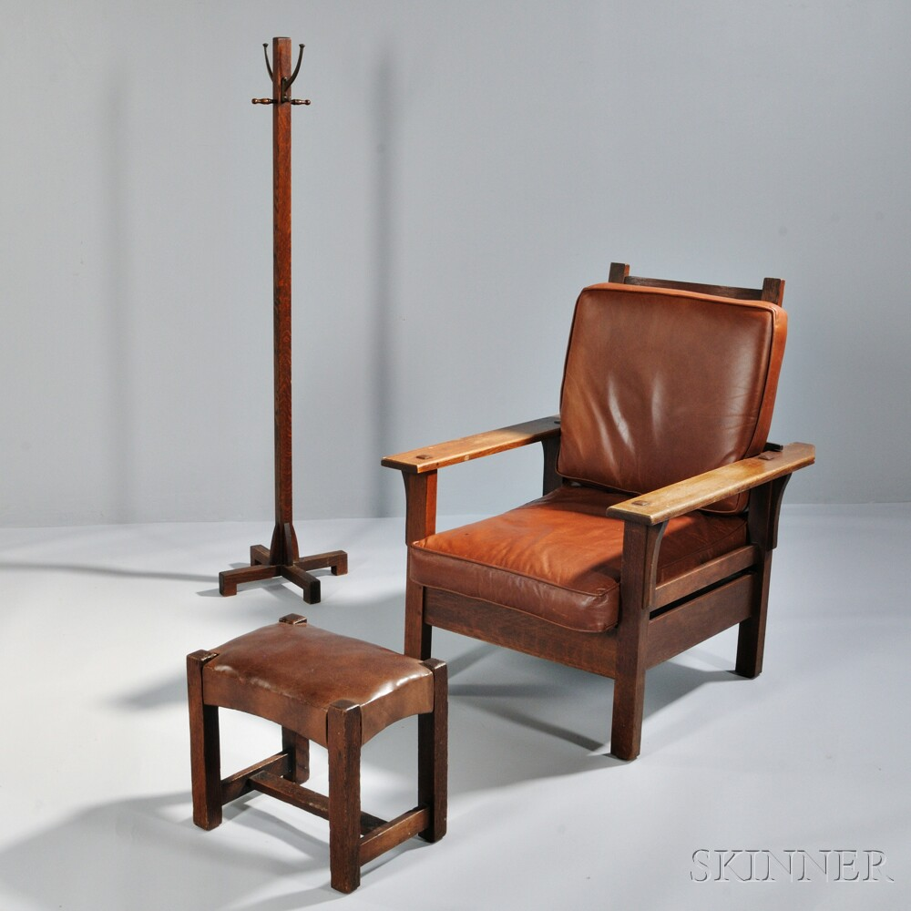 Oak Arts and Crafts Morris Chair, Ottoman, and Coat Rack