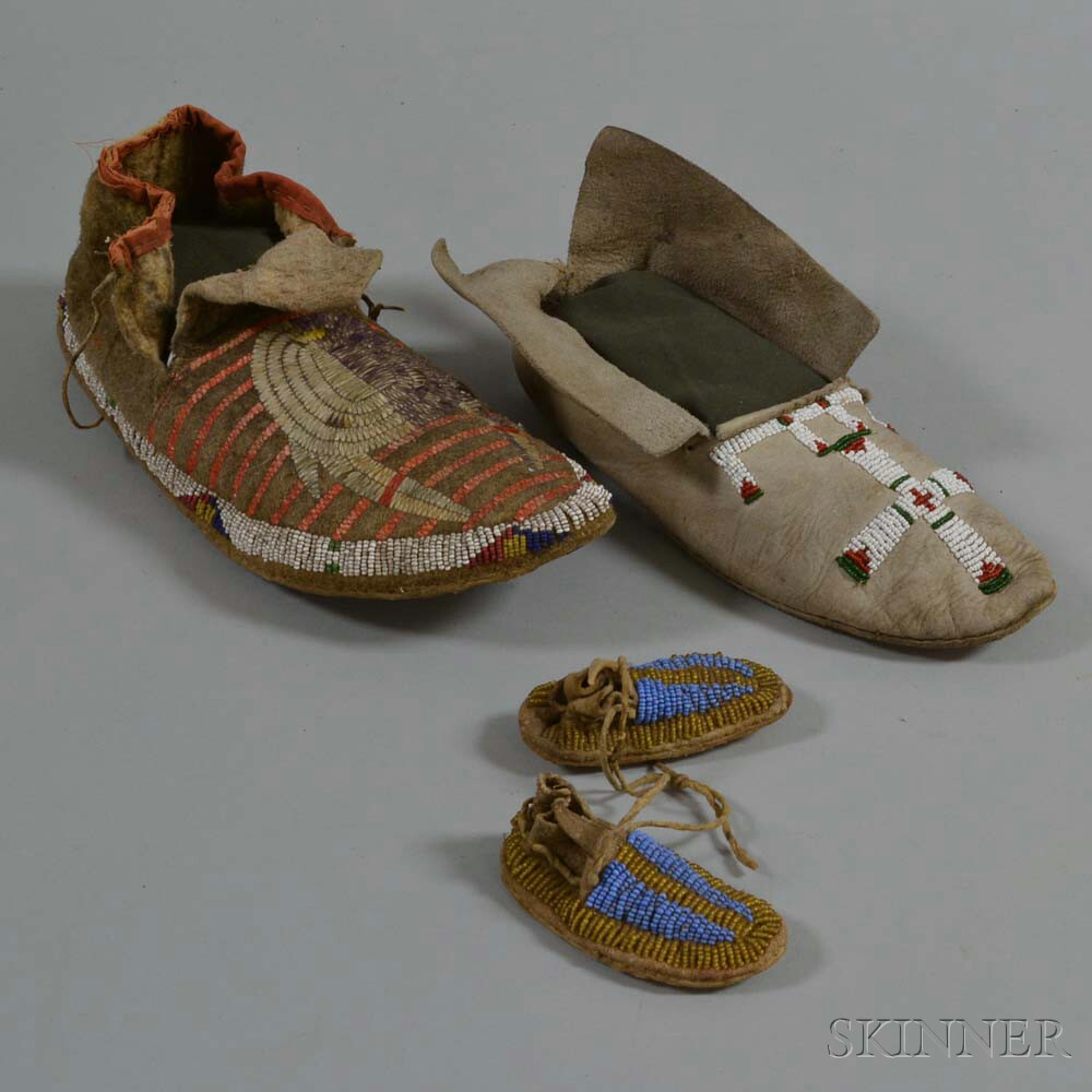 Two Single Moccasins and a Beaded Miniature Pair
