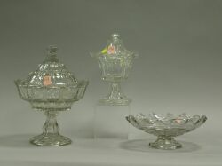 Flint Glass Covered Compote, Sugar, and Bowl.