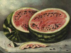 American School, 19th Century  Watermelon Still Life