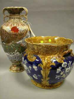 Victorian French/Belgian Ceramic Jardiniere and a Satsuma Vase.
