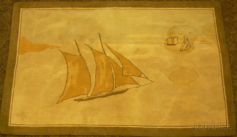 Grenfell Hooked Rug Depicting Sailing Ships