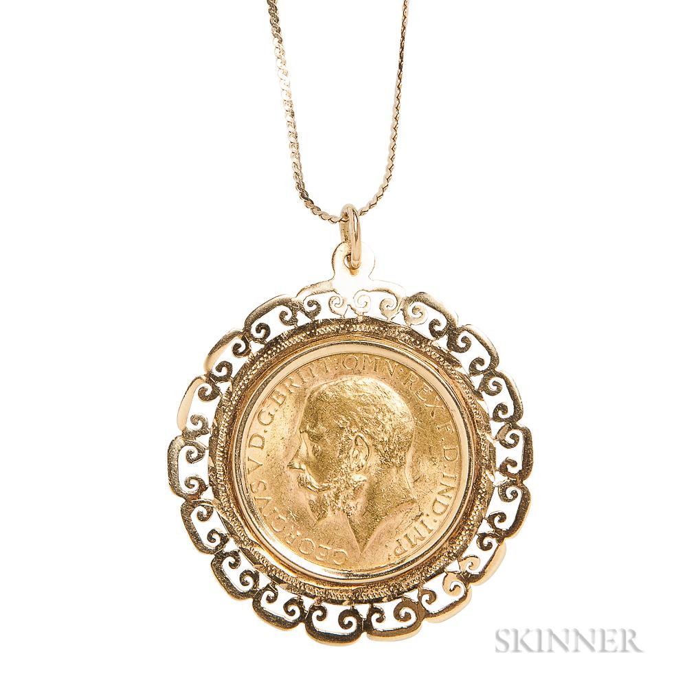 George V 1927 Gold Sovereign Pendant