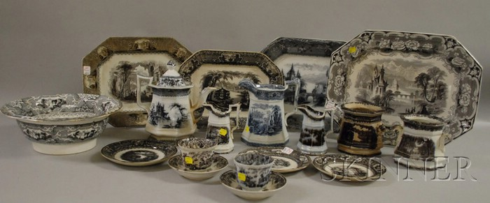 Eighteen Pieces of English Flow Mulberry Tableware