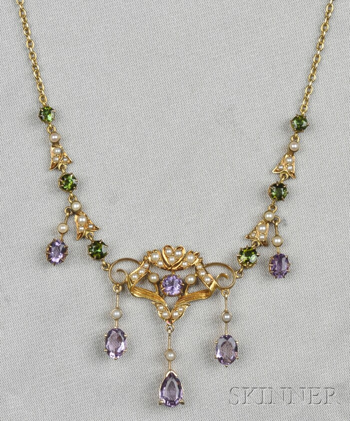 Art Nouveau 14kt Gold, Amethyst, Peridot, and Seed Pearl Necklace