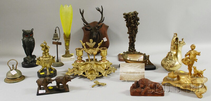 Large Group of Assorted Mostly Metal Desk, Souvenir, and Decorative Items