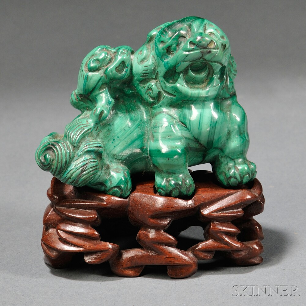 Malachite Carving of a Buddhist Lion