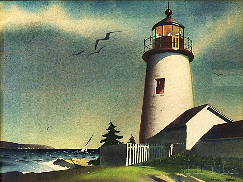 Sandor Bernath (American, 1892-1984)      Lighthouse with Distant Sailboat
