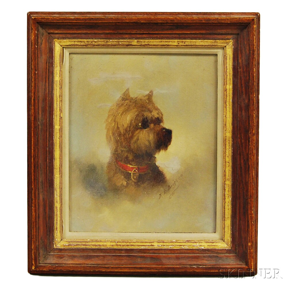 Franklin D. Briscoe (American, 1844-1903)      Portrait of a Terrier with a Red Collar