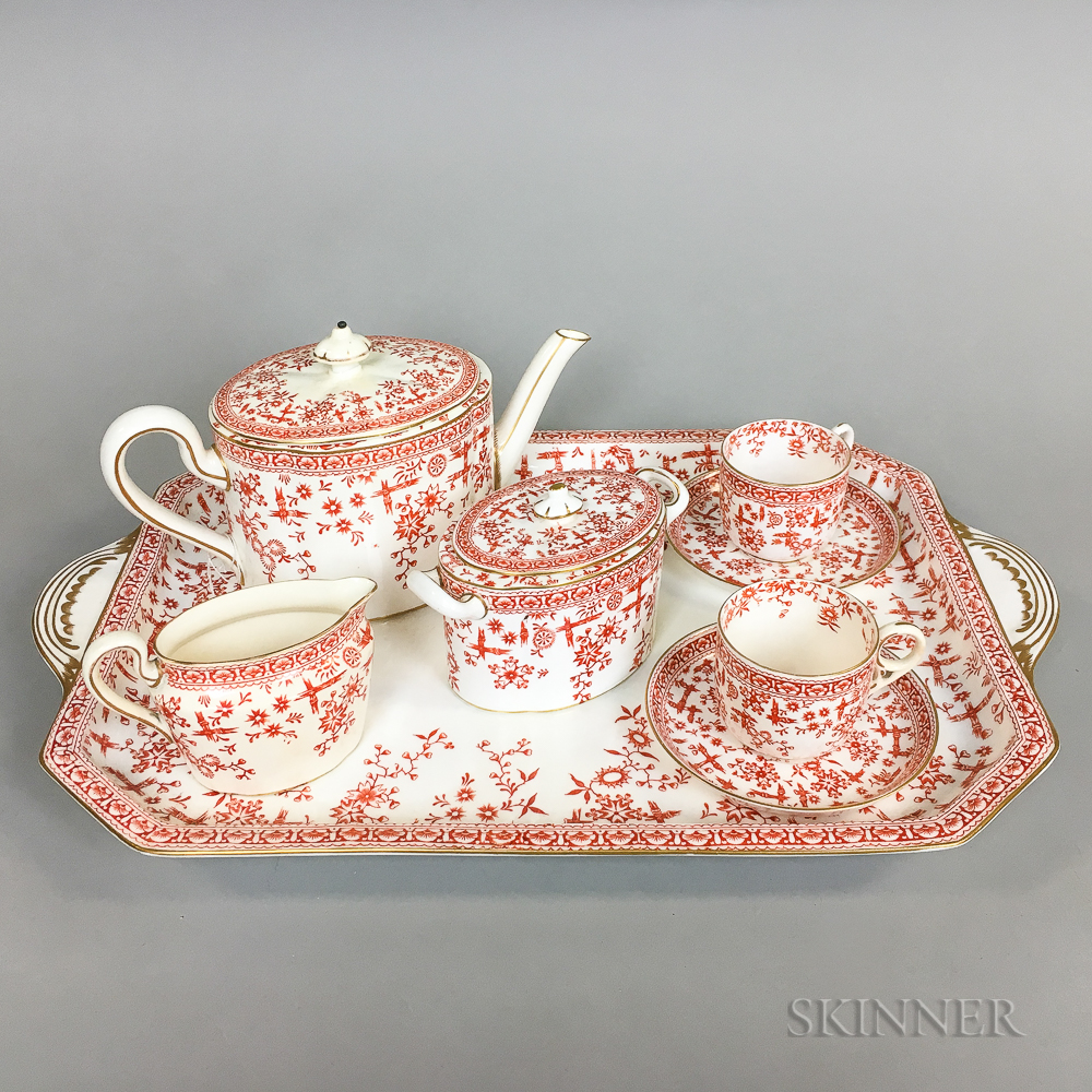 Eight-piece Royal Crown Derby Osborne-pattern Transfer-decorated Tea Set.     Estimate $150-250