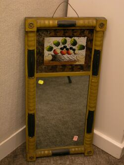 Painted Split Baluster Mirror with Reverse Painted Glass Panel.