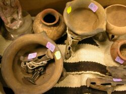 Nine Pre-Columbian Pottery Fragments, Figures and Bowls.